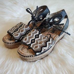 Sam Edelman Black Neera Beaded Platform Sandals